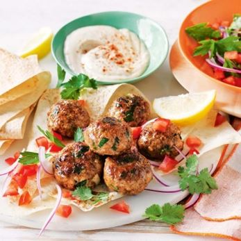 recipe for sweet spiced meatballs with hommus dip