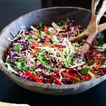 asian beef strips with coleslaw.