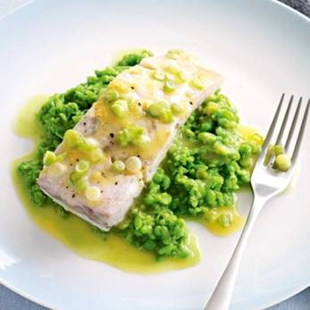 baked fish with pea puree recipe.